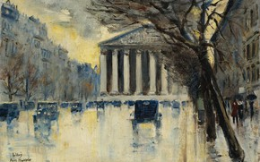 Picture picture, the urban landscape, 1928, Lesser URY, Lesser Ury, The Church Of The Madeleine