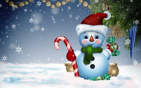 Picture winter, background, holiday, new year, snowman, congratulations, funny, postcard, fun