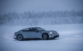 Picture snow, grey, Porsche, side view, 2020, Taycan, Taycan 4S
