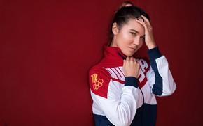 Wallpaper look, pose, background, model, portrait, makeup, jacket, hairstyle, sports, brown hair, beauty, Andrey Vechkenzin, Evgenia ...