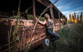 Picture girl, nature, bus