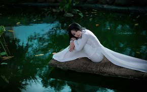Picture girl, nature, white, dress, Asian, pond