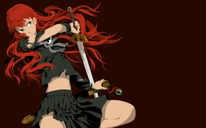 Picture look, torn clothes, red hair, sword, girl
