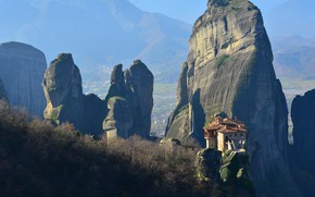 Picture landscape, nature, rocks, Greece, the monastery, Meteors, Meteor
