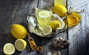 Picture lemon, juice, honey, drink, ginger