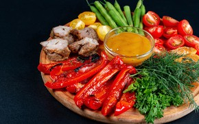 Picture greens, dill, meat, Board, pepper, vegetables, sauce, kebabs