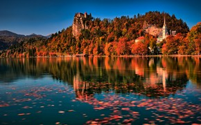 Picture mountains, Church, nature, forest, Slovenia, Lake bled, Bled, lake, foliage, rocks, autumn, landscape