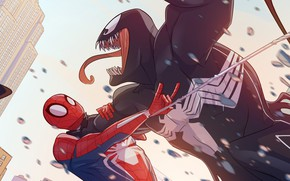Picture Venom, Peter Parker, Spider Man, Fight, Eddie Brock