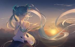 Picture girl, sunset, Vocaloid, Hatsune Miku
