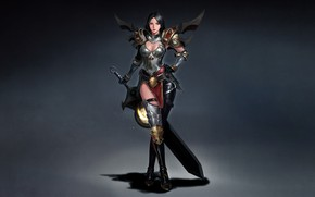 Picture Jeong Chan Jo, Character, Figure, Fantasy, Illustration, Girl, Warrior, Art, Sword, Style, Armor