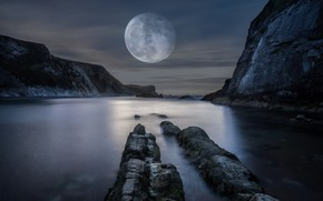 Wallpaper sea, mountains, night, rocks, the moon, shore, huge, the full moon, pond