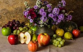 Picture flowers, apples, bouquet, grapes, fruit, still life, pear, flowers, autumn, fruit, grapes, still life