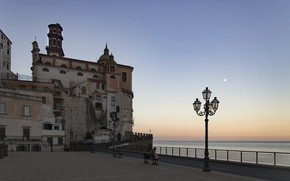 Picture sea, Italy, lantern, Atrani