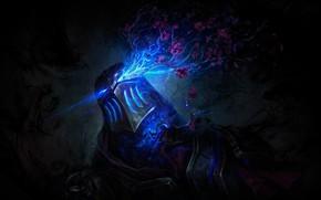 Picture flowers, lightning, helmet, League of Legends, League Of Legends, Zed