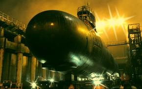 Picture boat, underwater, atomic, USS North Dakota
