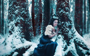 Picture winter, forest, girl, snow, trees, pose, style, fantasy, image, Princess, photoart, Kindra Nikole