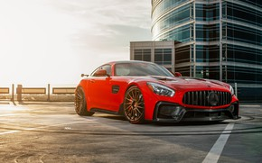 Picture Mercedes, AMG, Sunset, Evening, GTS, RED