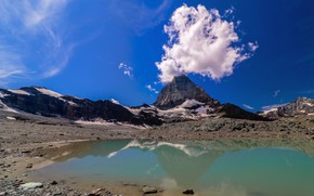 Picture the sky, lake, mountain, cloud