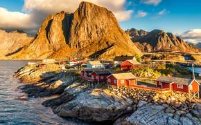 Wallpaper light, landscape, mountains, nature, rocks, Norway, houses, pond, the village, blue sky, piles, rocky shore, ...