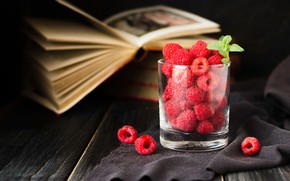 Picture glass, glass, berries, raspberry, the dark background, Board, books, fabric, still life, placer, mint, page