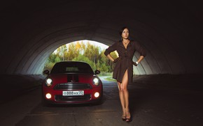 Picture machine, auto, girl, pose, the tunnel, gloves, legs, cloak, MINI, Oleg Klimin