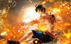 Picture fire, flame, guy, One Piece