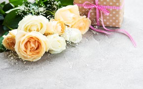 Picture flowers, roses, bouquet, gift box