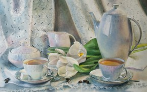 """Picture """"Still life with tulips"""", gentle paint, the artist Lyubov Titova, painting, still life, watercolor"""