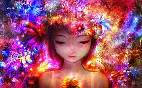 Picture flowers, fantasy, girl