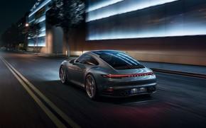 Picture machine, light, night, the city, lights, lights, sports, Porsche 911 Carrera S, 992, 2019