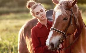 Picture girl, horse, horse, horse-face, Ki Te