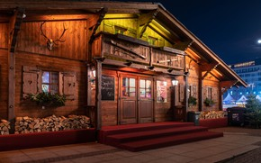 Picture house, the evening, Germany, Christmas, wooden, Leipzig