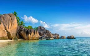 Picture sea, beach, stones, Seychelles