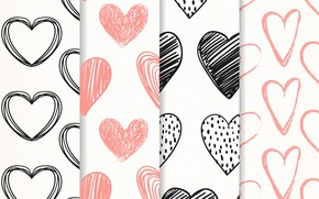 Picture white, background, texture, hearts, patterns, hearts