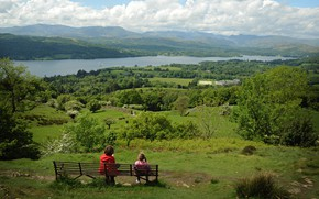 Picture field, mountains, lake, bench, valley, children, kids, outdoors