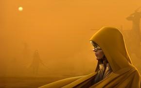 Picture Girl, Yellow, Dust, Robot, Storm, Girl, Silhouette, Deer, Fantasy, Hood, Landscape, Robot, Storm, Fiction, Yellow, …