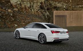 Picture white, Audi, sedan, ass, hybrid, Audi A6, four-door, 2020, A6, A6 Sedan, 55 TFSI and …