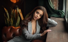 Picture look, sexy, pose, sofa, model, portrait, makeup, hairstyle, costume, sill, brown hair, jacket, sitting, bokeh, …