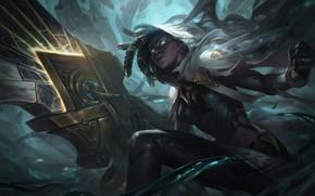 Picture dark, girl, sword, fantasy, game, green eyes, League of Legends, digital art, artwork, warrior, fantasy …