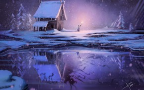 Picture Winter, Reflection, Lake, Snow, Fire, Monster, The demon, Fire, Monster, Winter, Night, Snow, Cold, Lake, …