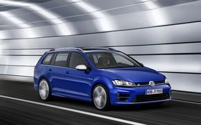 Picture blue, Volkswagen, the tunnel, universal, 2014, Golf R Estate