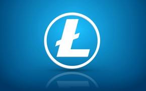 Picture reflection, blue, logo, fon, litecoin, litecoin, ltc