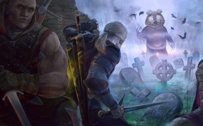 Picture Bear, Art, Art, The Witcher, Geralt, Witcher, Geralt, Cemetery, by Alexander Linblack, Alexander Linblack, by …