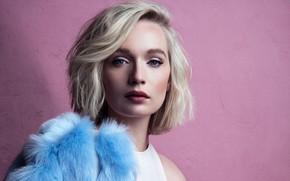 Picture girl, model, blonde, blue eyes, pink background