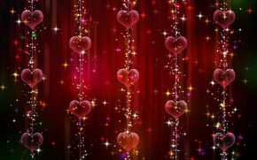 Picture background, graphics, texture, sparks, hearts, garland, digital art
