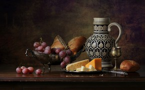 Picture cheese, grapes, pear, pitcher