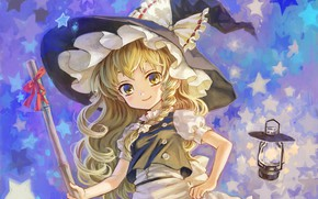 Picture lantern, stars, broom, bow, pigtail, ruffles, witch hat, witch, Touhou Project, Marisa Kirisame, Amatou, Project …