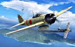 Picture smoke, burns, deck, F4F, A6M2, JNAF, model 21, 202 Kokutai, Zenjiro Miyano