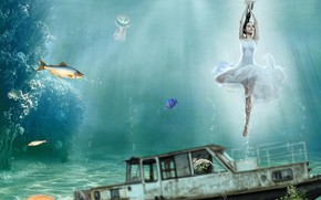 Picture girl, fish, fantasy, ballerina, photoart