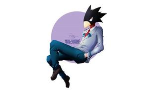 Picture minimalism, white background, guy, My Hero Academia, Boku No Hero Academy, Tokoyami Fumikage, My Hero …